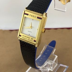 Paolo Accessories - Paolo Gucci Gold Tone Designer Black Leather Watch